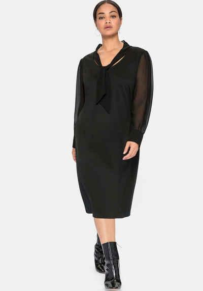 Sheego Jerseykleid mit Schluppe und Chiffonärmeln