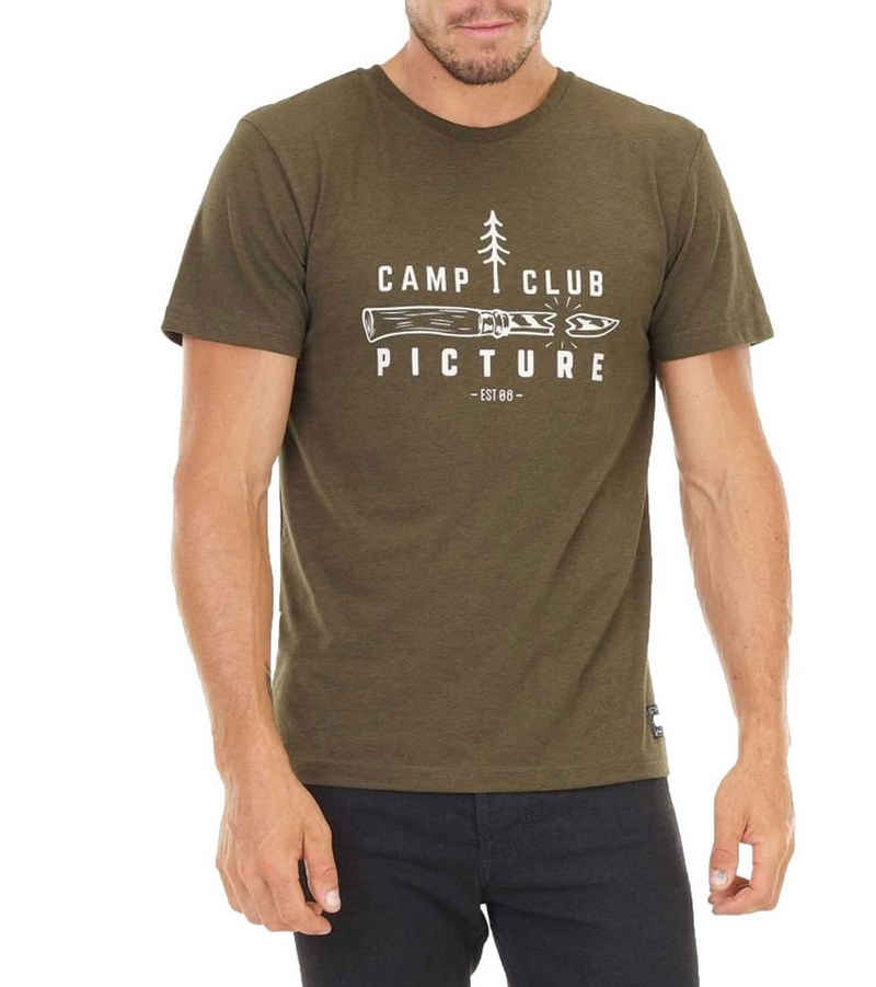 Picture T-Shirt »Picture Camp Club Rundhals-T-Shirt sommerliches Herren Freizeit-Shirt Mode-Shirt Khaki/Weiß«