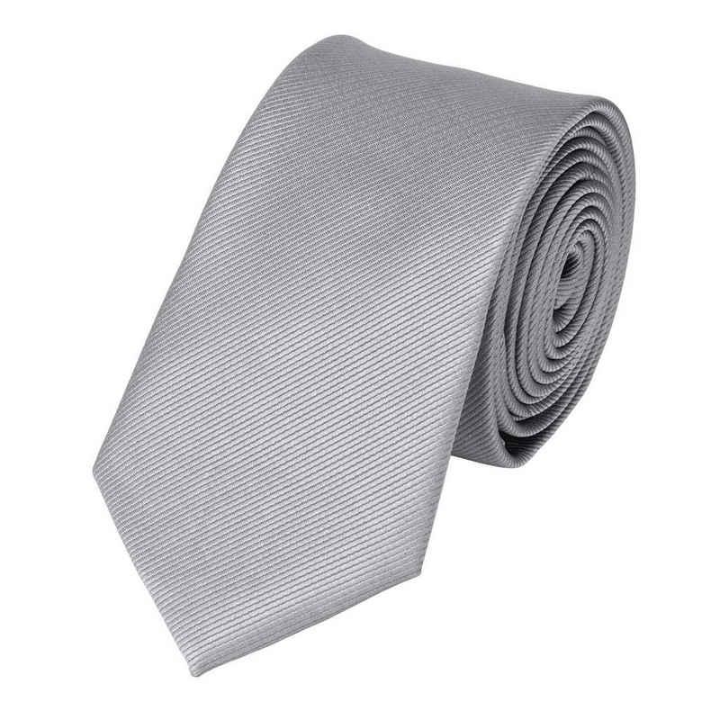Fabio Farini Krawatte (ohne Box, Unifarben) Schmal (6cm), Silber