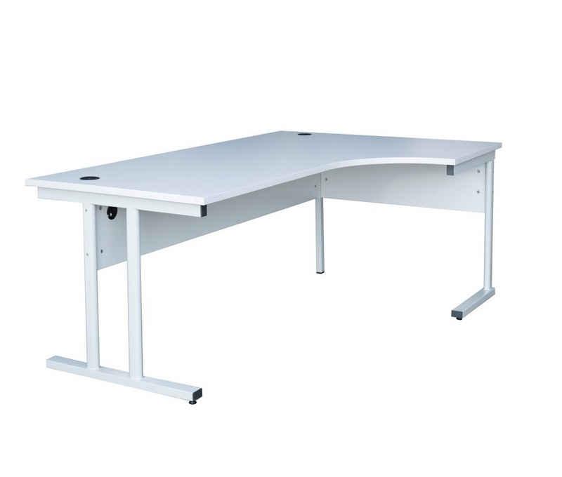 Steelboxx Aktenschrank »Freiformtisch ECO - Winkel rechts - T-Fuß - 730 x« (1-St) - Mit 2 Kabeldurchlassdosen - Stahlrohrgestell mit klassischem, formschönen T-Fuß-Design - 25 mm starke, melaminharzbeschichtete Tischplatte aus Holzspanwerkstoff nach DIN 68765