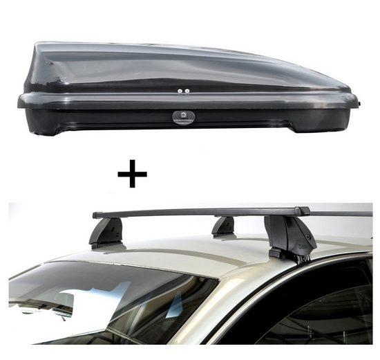VDP Fahrradträger, Dachbox VDPFL320 320 Liter schwarz glänzend + Dachträger K1 MEDIUM kompatibel mit Peugeot 308 Station Wagon (5Türer) ab 14
