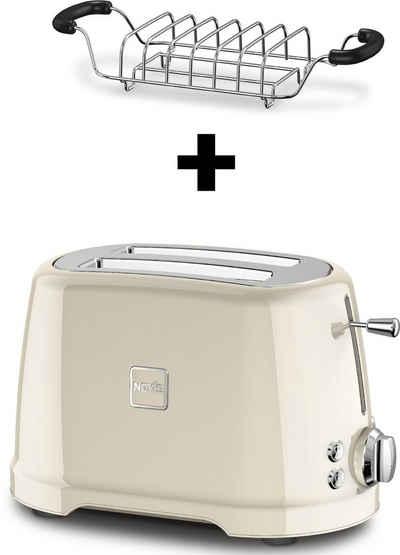 NOVIS Toaster T2 cream VDE SET, 2 kurze Schlitze, 900 W, mit Brötchenwärmer
