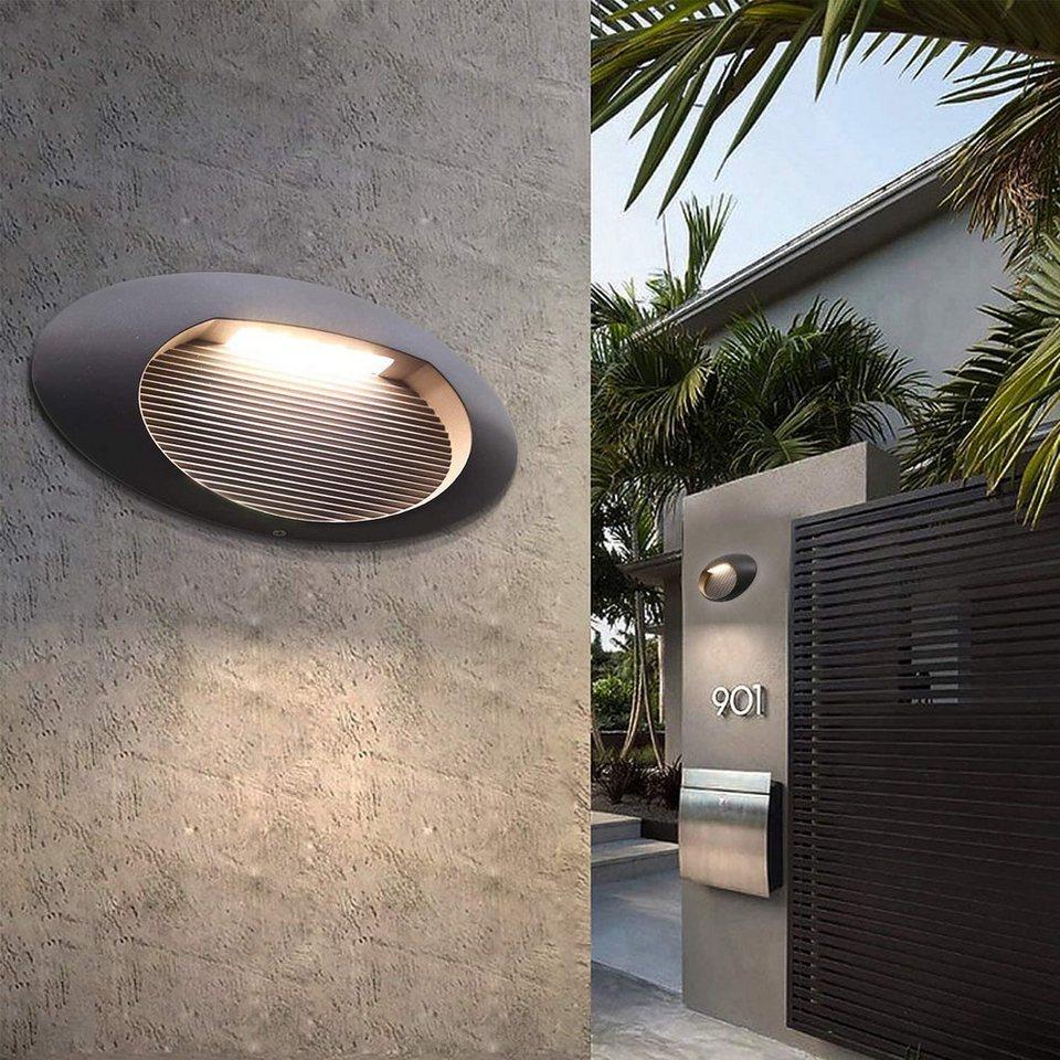 ZMH Außen Wandleuchte »LED Wandlampe Außenlampe Anthrazit Treppenlicht 20.20W  20K für Balkon Garten Terrasse«, LED Wandlampe Außenlampe Anthrazit ...
