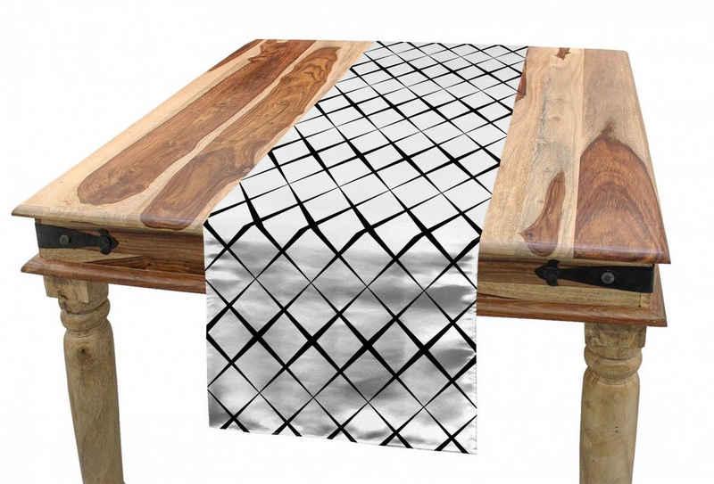 Abakuhaus Tischläufer »Esszimmer Küche Rechteckiger Dekorativer Tischläufer«, Schwarz und weiß Gitternetzlinien