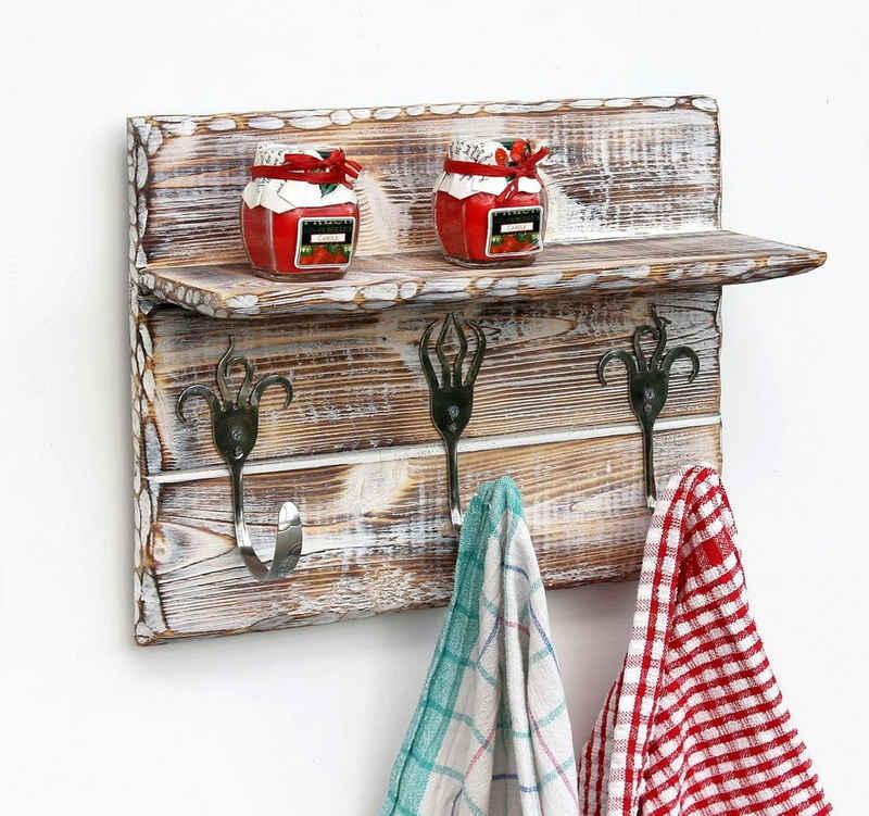 Handtuchhalter »Handtuchhaken Handtuchleiste mit Ablage 93912 Handtuchhalter Küche Holz Hakenleiste Vintage Garderobenleiste Kleiderhakenleiste handgemacht«, DanDiBo