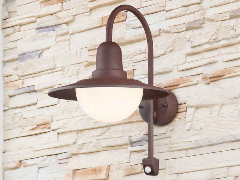 meineWunschleuchte LED Außen-Wandleuchte, Fassaden-Beleuchtung mit Bewegungsmelder, Rost-Optik, Landhaus-Laterne für Haus-Wand, Retro Hausbeleuchtung, Vintage, draußen, Terrasse