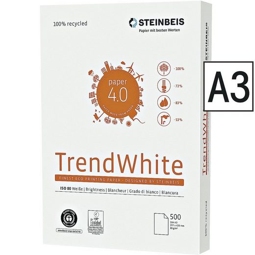 STEINBEIS Recyclingpapier »Trend White«, Format DIN A3, 80 g/m²