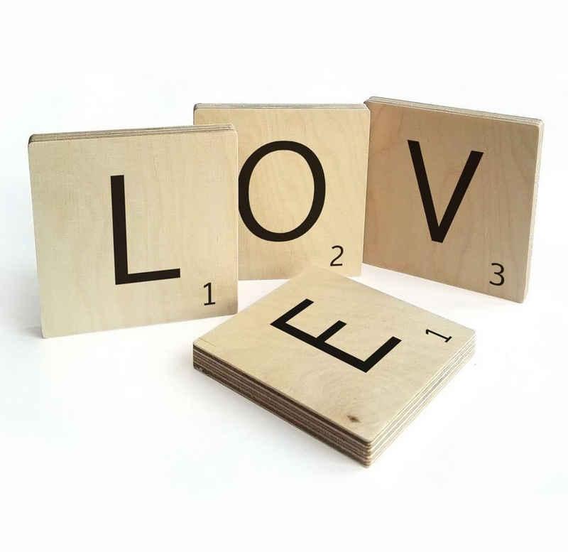 Wall-Art Wandspruch »Scrabble Deko Buchstaben Love« (Set, 4 Stück)