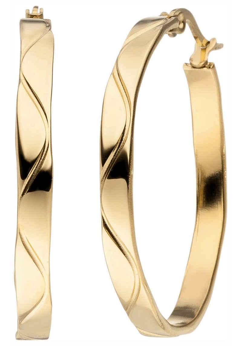 JOBO Paar Creolen, Edelstahl gold-farben 34 mm