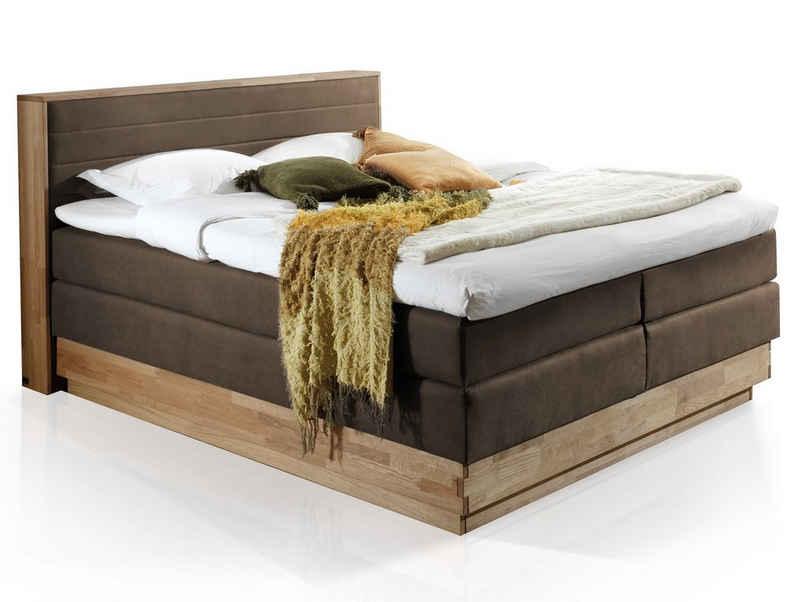 Moebel-Eins Boxspringbett, MENOTA Boxspringbett mit Bettkasten, massivem Holzrahmen und Bezug im Vintage Look
