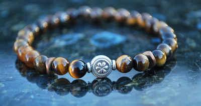 NAHLE Perlenarmband »Tigerauge Armband Partnerarmband Freundschaftsarmband«, handmade, dehnbares Band