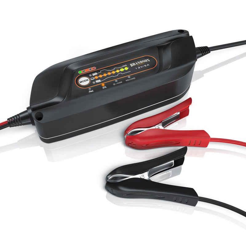 Brandson Autobatterie-Ladegerät (5000 mA, Autobatterie Ladegerät mit Rekonditionierungsmodus 8 Ladeschritte / 5 Ampere Leistung)