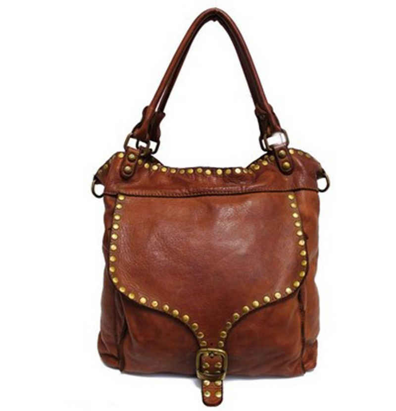 Goodman Design Schultertasche »Damen Leder Handtasche Shopper Umhängetasche«, weiches Waschleder, Made in Italy