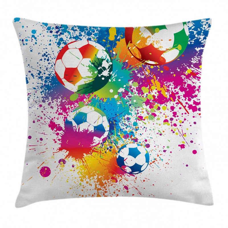 Abakuhaus Kissenbezug »Waschbar mit Reißverschluss Kissenhülle mit Farbfesten Klaren Farben Beidseitiger Druck«, Fußball Bunter Spritzer Ball