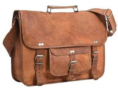 """Gusti Leder Umhängetasche »Finlay 17""""«, Umhängetasche Businesstasche Unitasche Notebooktasche Messenger Bag Vintage Damen Herren Unisex Braun Leder"""