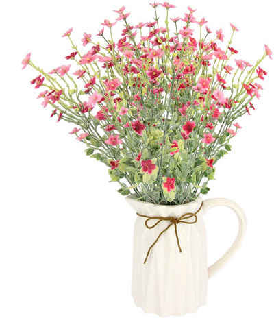 Kunstblume »Blütenbusch«, I.GE.A., Höhe 43 cm, Im Keramik-Krug mit Schleife