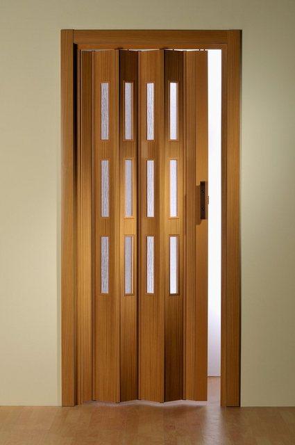 Kunststoff-Falttür mit Fenster Riffelstruktur, Höhe nach Maß, buchefarben, braun