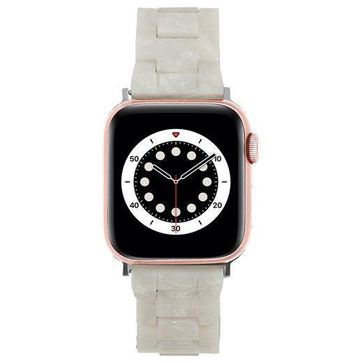 Case-Mate Smartwatch-Hülle »Linked Band White Pearl Acetate« Apple Watch SE, Apple Watch Series 6, Series 5, Series 4, Series 3, Series 2, Series 1, Apple Watch Band 38mm / 40mm [Ersatzarmband, Premium-Design, Inklusive zusätzlicher Glieder]