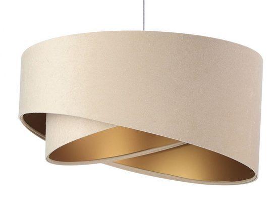 Licht-Erlebnisse Pendelleuchte »ABBY«, Pendelleuchte Stoffschirm Beige Gold wohnlich modern Hängelampe Esszimmer