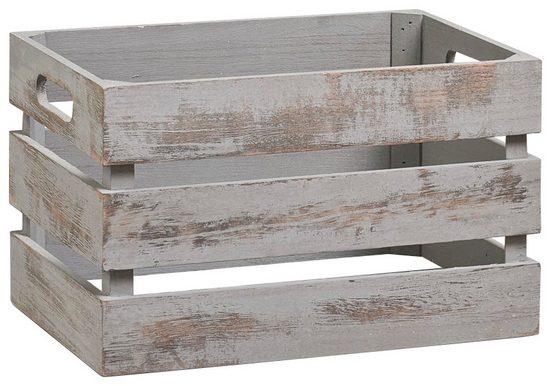 Vintage Holzkiste zur Aufbewahrung, Farbe grau, Maße 31x21x18,7 cm