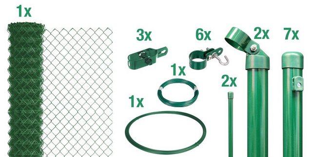 Set: Zaun Maschendraht grün