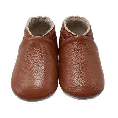 Yalion »Weiche Leder Lauflernschuhe Hausschuhe Lederpuschen Marone 100% Leder« Krabbelschuh