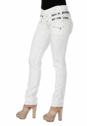 Cipo & Baxx Slim-fit-Jeans »Lightning« mit modischem Dreifach-Bund in Straight Fit