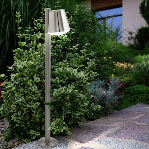 EGLO LED Außen-Stehlampe, Außen Steh Stand Lampe Garten Weg Edelstahl Sockel Säulen Leuchte silber Eglo 97454