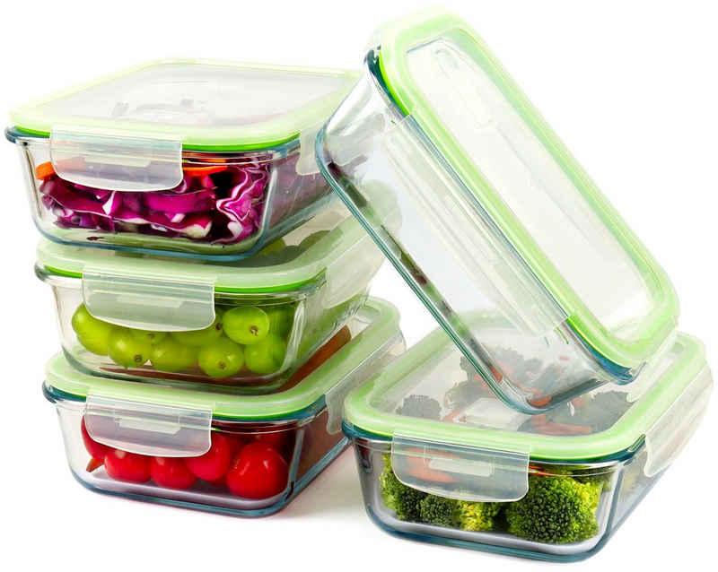 Monster24 Frischhaltedose »Glas-Frischhaltedosen-Set 5 x 1.040 ml mit Deckel luftdicht auslaufsicher stapelbar Aufbewahrungsbox Vorratsdose für Grill, Backofen, Mikrowelle, Kühlschrank, Gefrierschrank, Spülmaschine BPA-frei«, Borosilikatglas, (Set, 10-tlg., platzsparend ineinander stapelbar ohne Deckel), Deckel mit integriertem Dampfventil für die Mikrowelle
