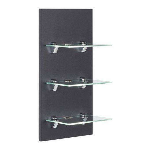 Lomadox Hängeschrank »LAGOS-02« Badmöbel LED-Panel mit 3 Glasablagen Seidenglanz anthrazit, B x H x T ca. 35 x 68 x 32cm