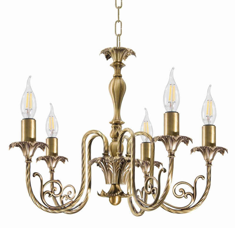 Licht-Erlebnisse Kronleuchter »LUIGI XV«, Hängelampe Esstisch bronziertes Messing E14 Premium Jugendstil Design