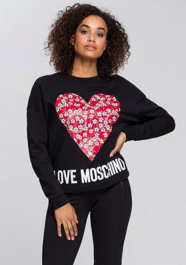 LOVE MOSCHINO Sweatshirt mit großem Herz mit Blumenmotiven