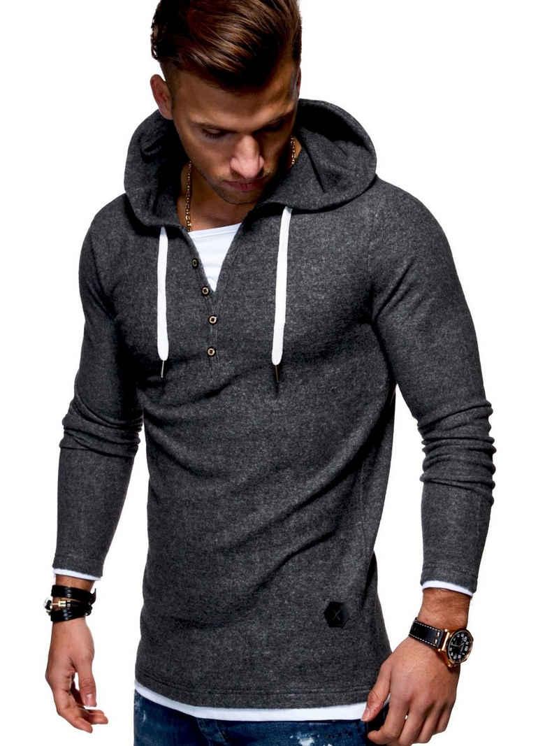 behype Kapuzensweatshirt »HENLEY« in trendiger 2-in-1-Optik