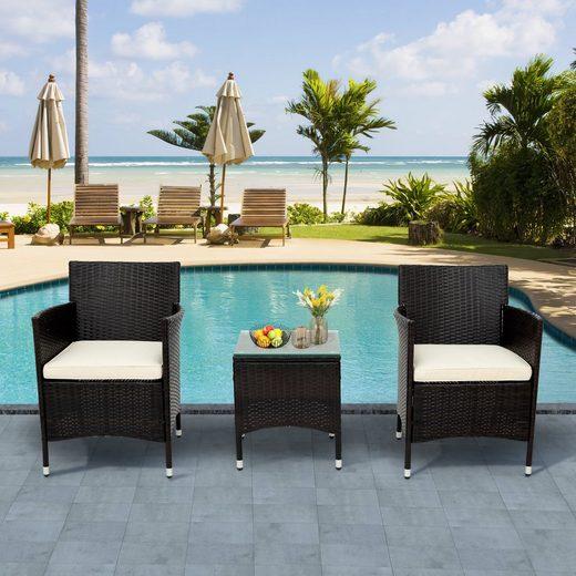 PHOEBE CAT Balkonset »Polyrattan Balkonmöbel Set Gartenmöbel Set für 2 Personen, inkl. 1 Tisch & 2 Rattan Sessel & 2 Sitzkissen«