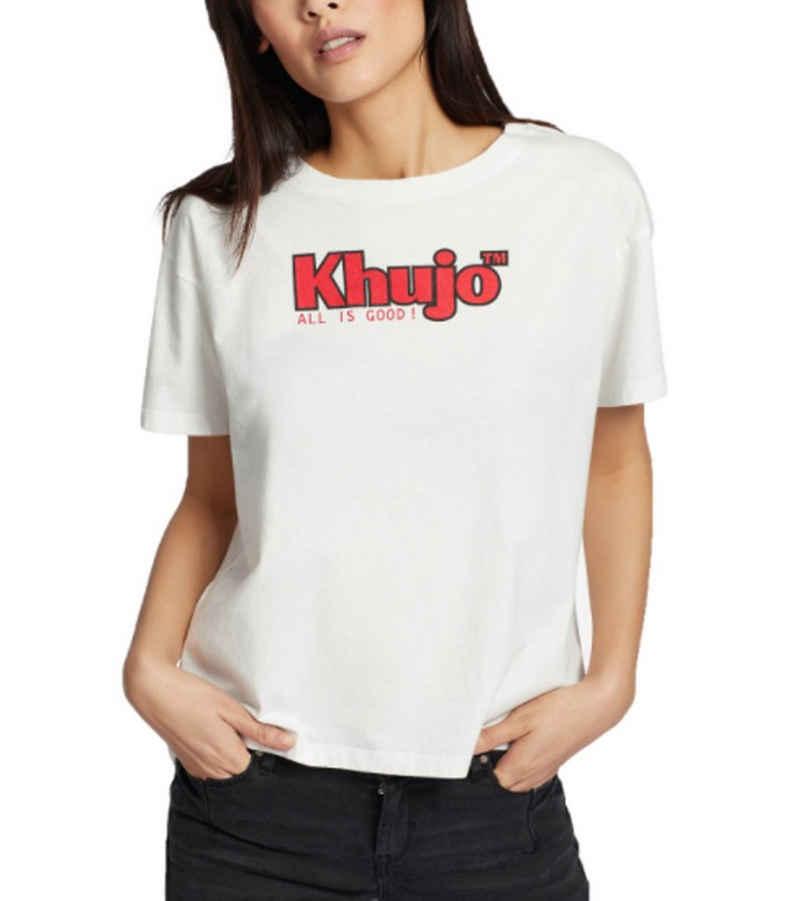 khujo Rundhalsshirt »khujo Marlenia Logo-Shirt zeitloses Damen Rundhals T-Shirt Basic-Shirt Weiß/Rot«