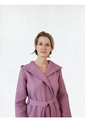 freundin Home Collection Damenbademantel »Waffelpiqué« su Kapuz...