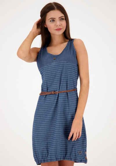 Alife & Kickin Jerseykleid »DojaAK« süßes Jeanskleid mit Taillengürtel& Ballonsaum