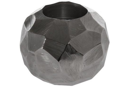 elbmöbel Teelichthalter »Teelichthalter gehämmert«, Teelichthalter: Dekoration 12x10x12 cm silber modern teelicht