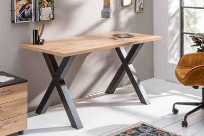 riess-ambiente Schreibtisch »MONTREAL 140cm natur / schwarz«, Industrial · Bürotisch · X-Gestell · Eichen-Optik · Arbeitszimmer