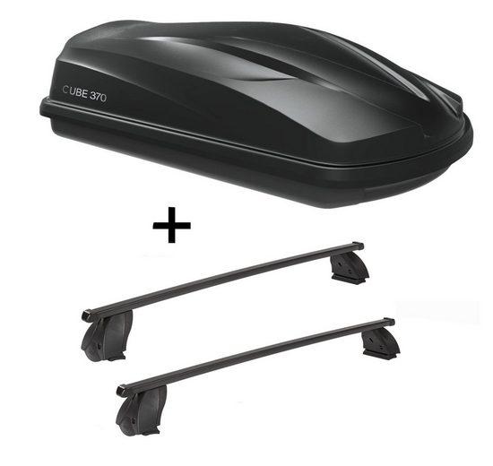 VDP Fahrradträger, Dachbox CUBE370 370 Liter schwarz glänzend + Dachträger K1 MEDIUM kompatibel mit Fiat Multipla II (5Türer) ab 04