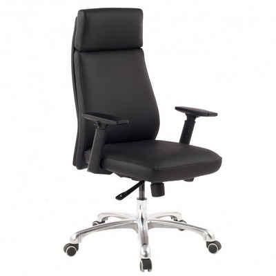 FINEBUY Schreibtischstuhl »FB43636«, Bürostuhl Echt-Leder Schwarz ergonomisch mit Kopfstütze, Design Chefsessel Schreibtischstuhl ergonomisch mit Wippfunktion, Drehstuhl mit Armlehnen X-XL 120 kg