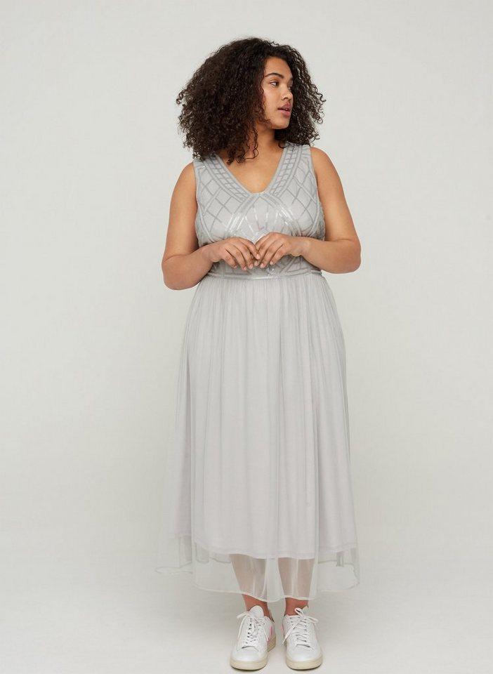 Festtagsmode - Zizzi Abendkleid Große Größen Damen Kleid mit Pailletten und V Ausschnitt ›  - Onlineshop OTTO