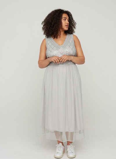 Zizzi Abendkleid Große Größen Damen Kleid mit Pailletten und V-Ausschnitt