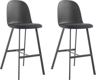 Barhocker »Asta« (2 St), Kunststoffschale mit festmontiertem Stoffkissen, Sitzhöhe 75 cm, maximale Belastbarkeit 120 kg