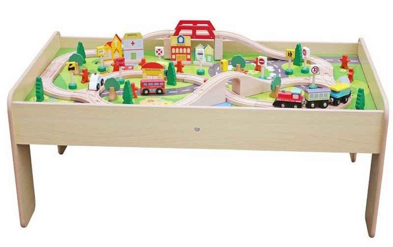 Coemo Spielzeugeisenbahn-Set, Spur N, Set: Spieltisch und 90 tlg. Holzeisenbahn
