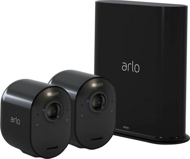 ARLO »Arlo Ultra 2 Spotlight-Kamera-Set« Überwachungskamera (Außenbereich, Reichweite: bis zu 91,4 m Sichtbereich, Einstellbare Geräuscherkennung, Integrierte intelligente Sirene, Eingebaute Antenne (Smarthub)