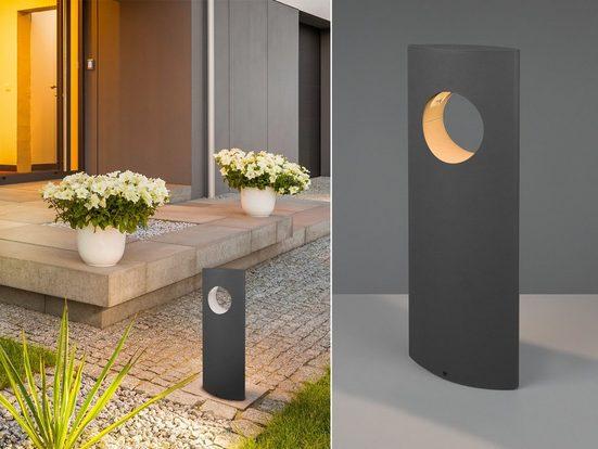 meineWunschleuchte LED Sockelleuchte, 2er Set Wegebeleuchtung für Außen Outdoor Stehlampe Garten Terrassen-Leuchte Anthrazit 50cm
