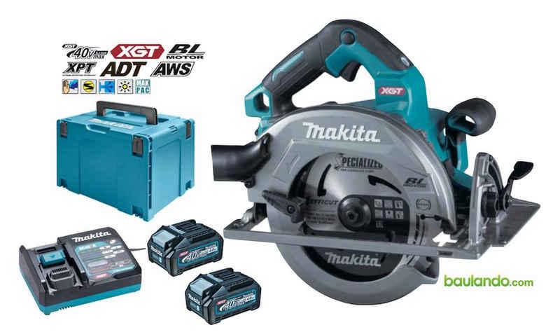 Makita Handkreissäge »Akku Handkreissäge«, Handkreissäge HS003GM201 2x BL4040 Batterie (40 Vmax / 4,0 Ah) DC40RA Ladegerät Makpac Systemgehäuse