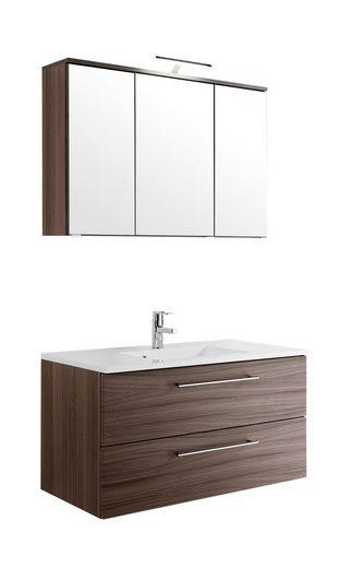HELD MÖBEL Badmöbel-Set »Prato«, (2-tlg), Breite 100 cm, Waschtisch mit LED-Spiegelschrank