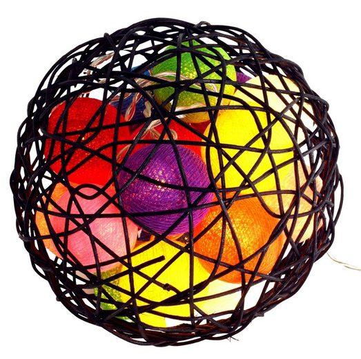 Guru-Shop LED-Lichterkette »Bunte Stoff Ball Lichterkette LED Kugel Lampion..«